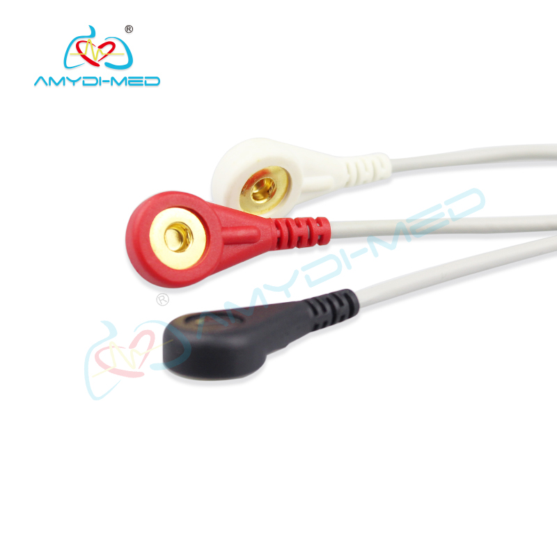 Biolight A6 12 pin  ECG cable 3 leads, snap,AHA