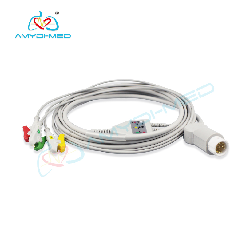 Mindray PM5000 PM6000  12 pin  ECG cable 3 leads, clip , IEC