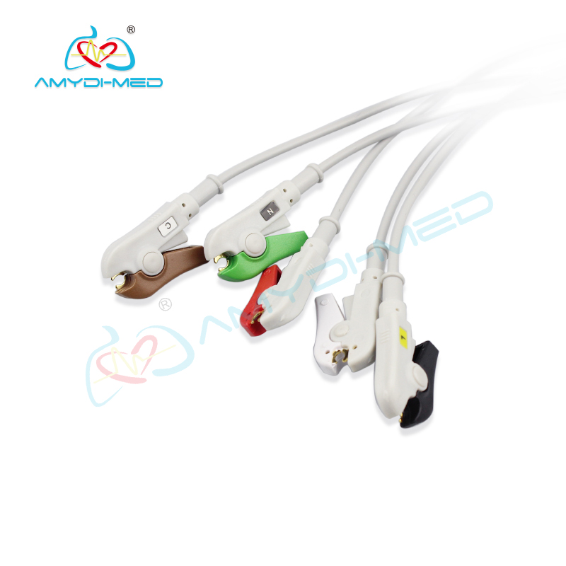 NIHON KODEN    6 pin  ECG cable 5 leads, clip ,AHA