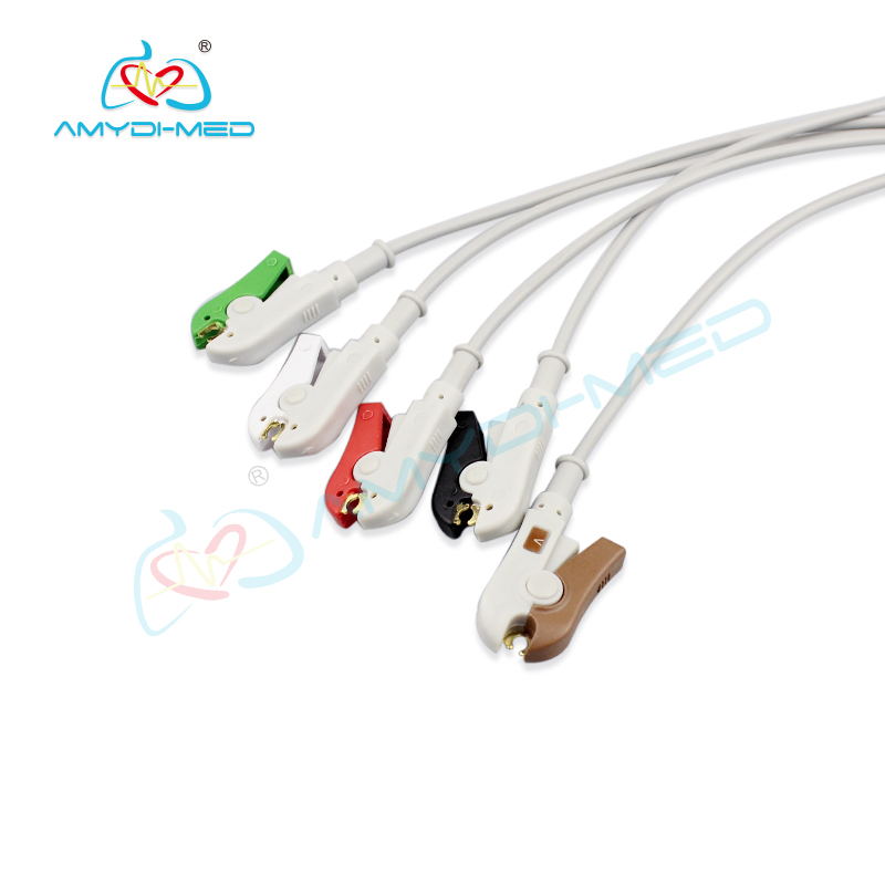 Philips  compatible direct-connect  ECG cable ,5 leads, clip ,IEC